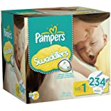Pampers Swaddlers Diapers Size 1 Economy Pack Plus, 234 Count