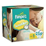 Pampers Swaddlers Diapers Economy Pack Plus Size 1, 234 Count (Packaging May Vary)