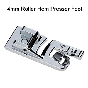 3Pcs Narrow Rolled Hem Sewing Machine Presser Foot Set (3mm, 4mm and 6mm) for All Low Shank Snap-On Singer, Brother, Babylock, Euro-Pro, Janome, Kenmore, White, Elna Sewing Machines (Color: Silver)
