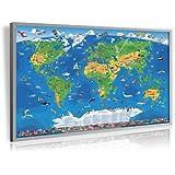 Pinnwand Kinder Weltkarte Deluxe XL, 90 x 60 cm, im silbernen Alurahmen