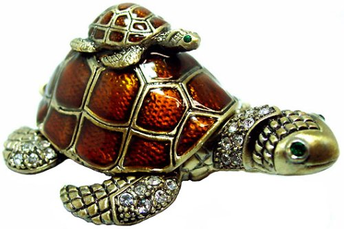 Mother Turtle Wth A Baby Bejeweled Trinket Box