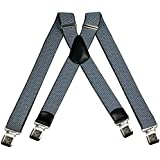 Mens braces adjustable and elastic wide suspenders X shape with a very strong clips - Heavy duty