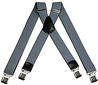 Mens braces wide adjustable and elastic suspenders X shape with a very strong clips Heavy duty (Baby Blue)