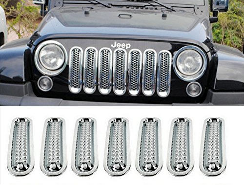 Opall Chrome Front Grill Mesh Grille Insert Kit For JEEP Wrangler JK Sahara Sport Rubicon Unlimited X X-S Mountain Islander Wilys Wheeler Polar Freedom 2007-2016 (Mud Flap Jeep Wrangler compare prices)