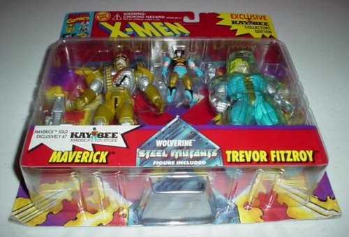 X-Men: Special Metallic Edition: Maverick, Wolverine and Trevor Fitzroy Poseable Action Figures - 1