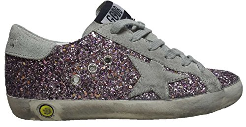 GOLDEN GOOSE SUPERSTAR LOW TOP SNEAKERS GLITTER ICE STAR ROSA G28KS501.T1