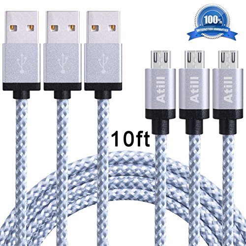 Atill 3 Pack 10FT Premium Micro USB Cable, High Speed Nylon Braided Data & Sync USB Charger Cord for Android, Samsung, HTC, Nokia, LG, HP, Sony, Tablets and More (White) (Micro Braided Charger compare prices)