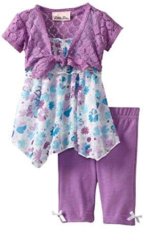 Little Lass Baby-Girls Infant 3 Piece Skimp Set with Bow Detail, Purple, 6-9 Months
