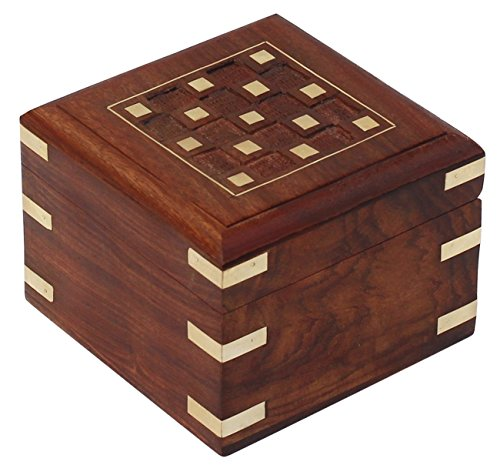 solid square wooden jewelry box handmade checkered brass inlay keepsake trinket box. Black Bedroom Furniture Sets. Home Design Ideas