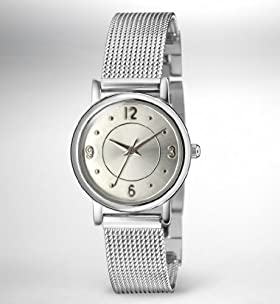 Round Face Mesh Strap Watch