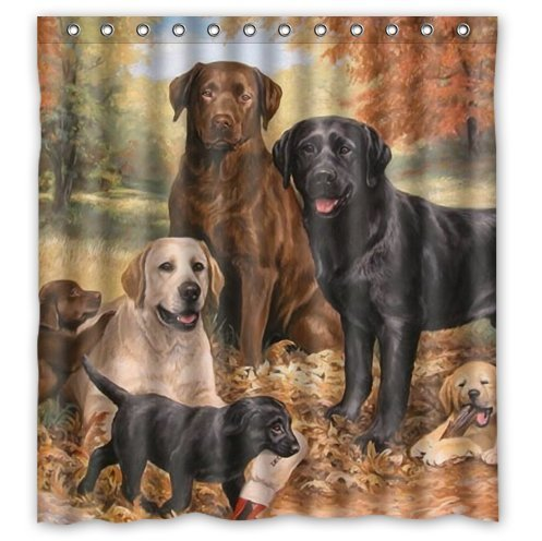 Fashionable Design lovely Labrador Retriever Dog art,cute dogs Waterproof Polyester Fabric Shower Curtain 66