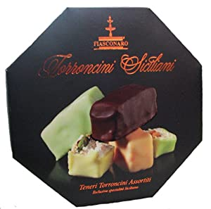 Fiasconaro Torroncini Siciliani Bite Size Torrone Assortment Almond Candy 250 Gram Box