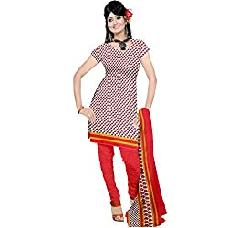 Sonal Trendz Women's Polyester Dress Material (STSON100541_Red)