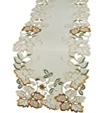 Xia Home Fashions 12 by 48-Inch Autumn Forest Cutwork Embroidered Fall Mini Runner