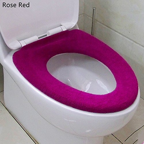 OUTUOU Toilet Seat Cover Soft And Warm Toilet Seat Cushion Rose Red Hardwar