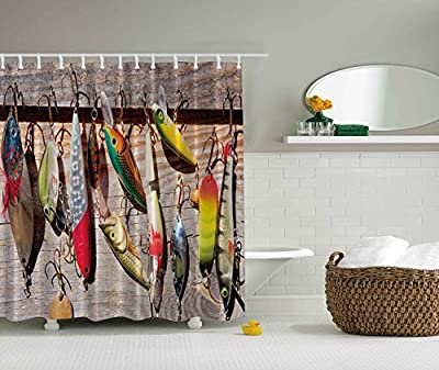 IMIEE Multi-color Fish on Hooks Design Shower Curtain Bait Pattern Nautical Polyester Bathroom Curtains,Home Decor 72inch x 72 inch
