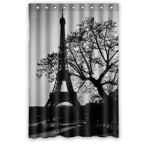 Custom Unique Design Eiffel Tower Waterproof Fabric Shower Curtain, 72 By 48-Inch back-608089