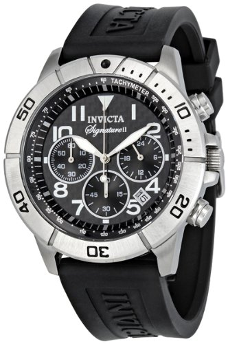 Invicta Men's 7346 Signature Chronograph Black Carbon Fiber Dial Black Polyurethane Watch