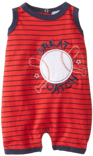 Peanut Buttons Baby-Boys Newborn Boy Baseball Romper, Red, 3-6 Months front-48472