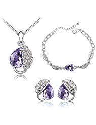 Nakabh Elegant Wine Purple Crystal Combo Jewellery Set Of Pendant Bracelet And Earrings For Girls And Women