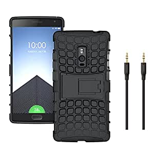 Mobicrafft Tough Hybrid Back Cover Case with Kickstand for OnePlus 2 (Black) + Aux Cable