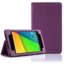 SUPCASE New Google Nexus 7 FHD 2nd Generation Tablet Slim Fit Folio Leather Case - Purple (Free Stylus, Elastic Hand Strap, Support Auto Wake/Sleep)