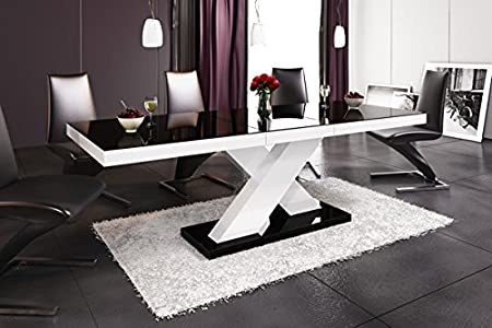 Table Dining Table 14111 Coffee Table White High Gloss 160 CM Extendible Black