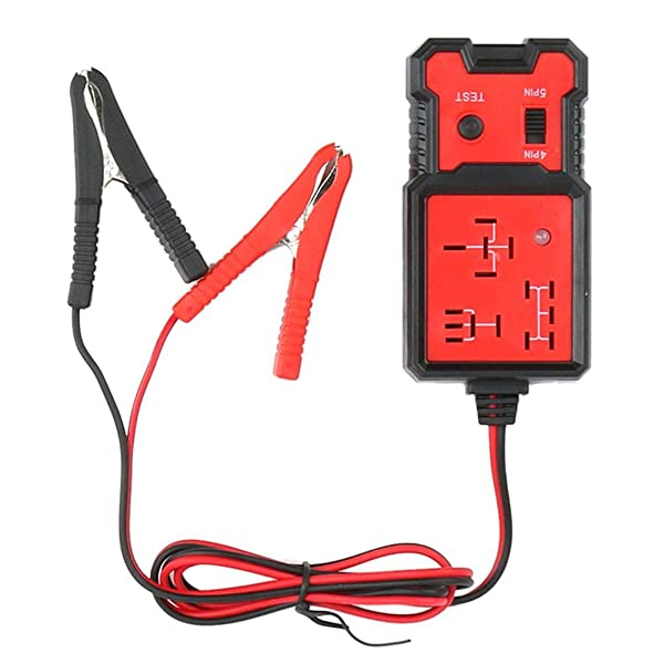 combnine Car Battery Checker, 12V 4pin 5pin Electronic Auto Relay Tester Testing Device Car Repair Tools with Clips (Tamaño: a)