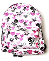 Clover White Backpack - Skull Crossbones and Sketched Hearts