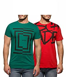 Yo Republic Mens Cotton Tshirt Combo Offer (Pack of 2)(AT-0040-1M_Green_Red_Medium)