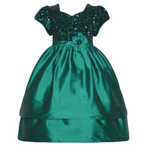 Bonnie Jean Baby Girls 3-6M Green Sequin Flower Sleeve Christmas Dress front-823454