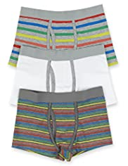 3 Pack Cotton Rich Rainbow Striped Trunks