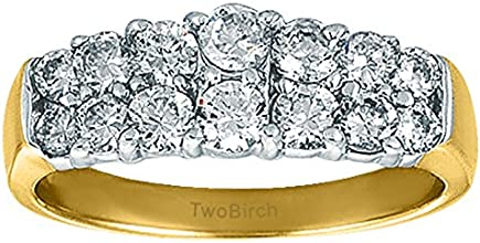 Silver Graduated Double Row Anniversary Wedding Band with Diamonds 07 ct twt