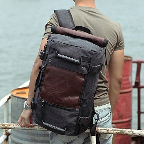 3b2d614693 ibagbar Canvas Backpack Travel Duffel Bag Hiking Bag Camping Bag ...