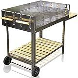 edelstahl bbq grill rollbar holzkohlegrill grillwagen mit h henverstellbarer 6000cm grillfl che. Black Bedroom Furniture Sets. Home Design Ideas