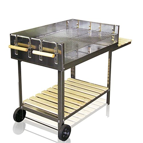 edelstahl bbq grill rollbar holzkohlegrill grillwagen mit. Black Bedroom Furniture Sets. Home Design Ideas