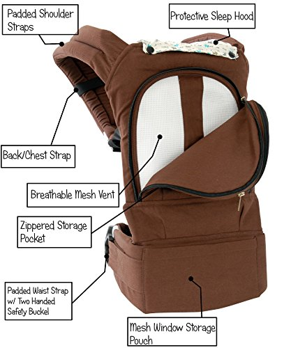 Mo+m® Designer Cotton 3 Position Baby Carrier (Chocolate Brown) ● Soft Structured, Ergonomic Sling w/ Mesh Cooling Vent, Hood & Pockets ● Great Baby Shower Gift