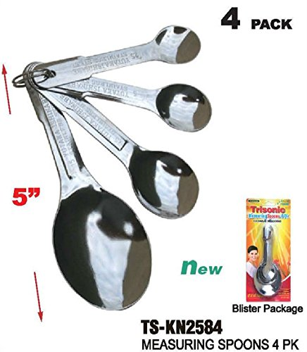 Fashion STAINLESS STEEL MEASURING SPOONS 1/4TSP - 1/2TSP - 1TSP - 1TSP - 4 PC (Bright Spring Measuring Spoons compare prices)