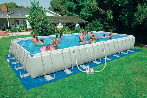 16 ft x 32 ft x 52 in intex rectangular ultra frame set pool package wchlorinator