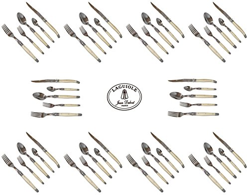 French Laguiole Dubost - Pearl - Complete Flatware Set For 10 People (50 Pcs) - In Heavier 25/10 Stainless Steel (Official Laguiole Quality Full Cutlery Family White Color Table Dinner Setting - With Certificate Of Authenticity - Direct From France)