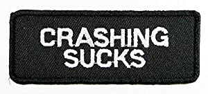 Crashing Sucks Patch Embroidered Iron on Hat Jacket Hoodie Backpack Ideal for Gift /9cm(w) X 3.5cm(h)