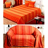Homescapes - Morocco Textured Stripe Throw - 60 x 80 Inches - Terracotta Orange - Handmade 100% Cotton - Suitable for most 2 Seater Sofas - Single bedspreads - Easy care washable at homeby Homescapes