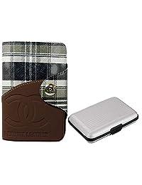 Apki Needs Long Tan Mens Wallet & Silver Colored Credit Card Holder Combo