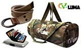 V-Luma Combo of Army Green Gym Bag with Canvas Belt & Card Holder VLCOM1030