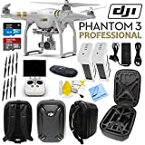 DJI Phantom 3 Professional Quadcopter Drone with 4K UHD Video Camera & CS Travel Kit: Includes Handheld Transmitter (Radio Controller), Sandisk 32GB and more.