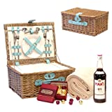 The Karly Picnic Basket with 750ml Bottle Pimm's No. 1, Bond Street Chocolate Truffles & Cream Fleece Blanket - Duck Egg Blue Faux Leather, Built in Chiller, 2 Person Wicker Picnic Hamper & Accessories - Luxury Valentines, Mothers, Fathers Day, Bronze, S