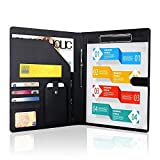 Padfolio Business/Resume Portfolio, AHGXG Leather Folder with Clipboard Document Organizer with Paper Clip, Legal Writing Pad, Pen Holder, Magnetic Closure and Pockets Contrast Stitch for Interview (Color: Black)