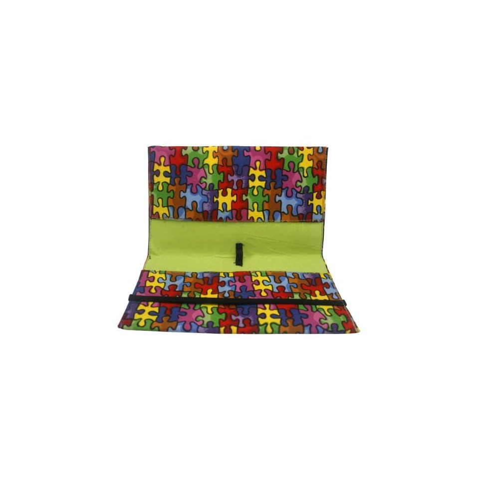 Autism Awareness Puzzle Fabric Checkbook Cover