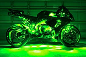 motorcycle led neon accent lighting kit with 10 chrome led light pods. Black Bedroom Furniture Sets. Home Design Ideas