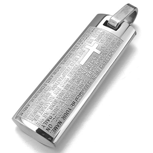 MunkiMix Edelstahl Anhänger Halskette Silber Englisch Bibel Lords Prayer Kreuz Jahrgang Herren ,mit 58cm Kette